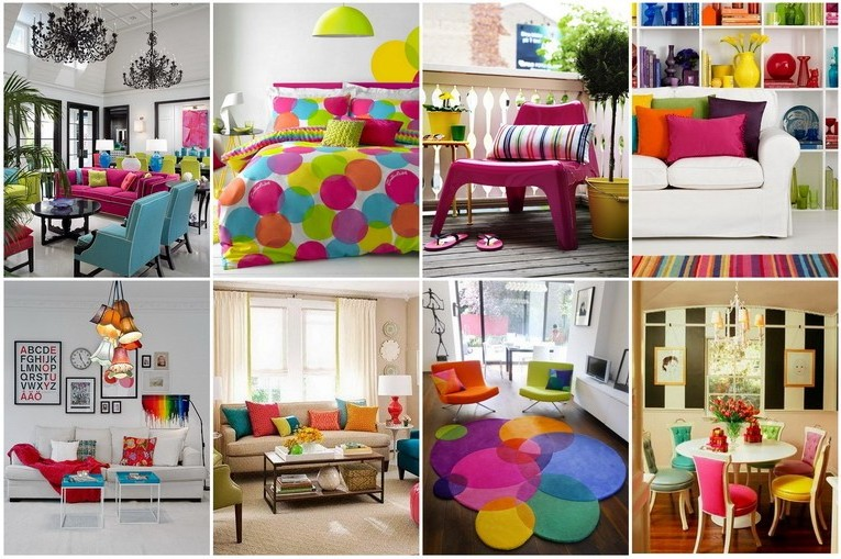 Bright colors and colors in the interior of the apartment photo