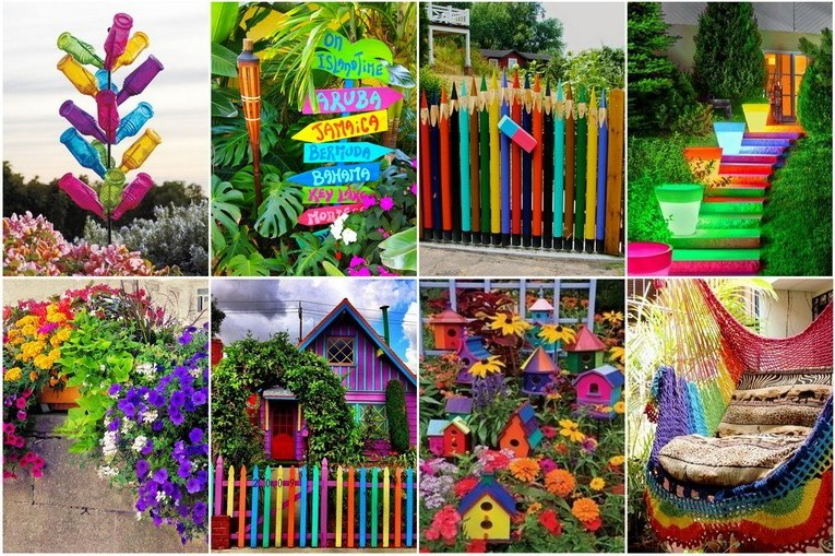Rainbow in the garden: we paint the fence and the walls of the house, put bright signs, plant colorful flowers