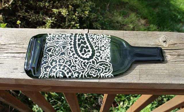 tray - crafts from glass bottles