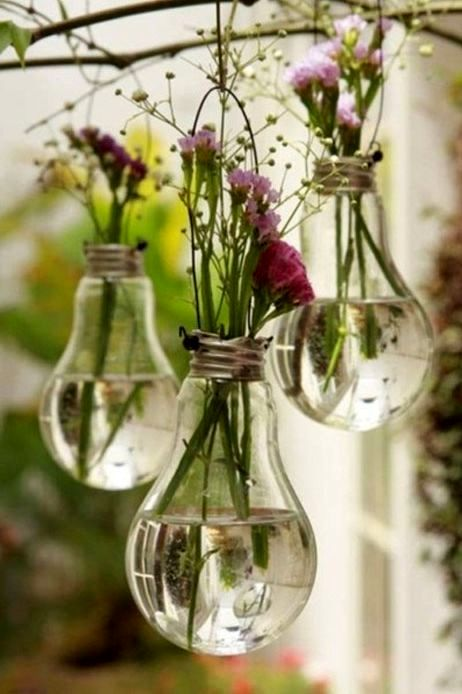 Hanging vases - crafts from light bulbs