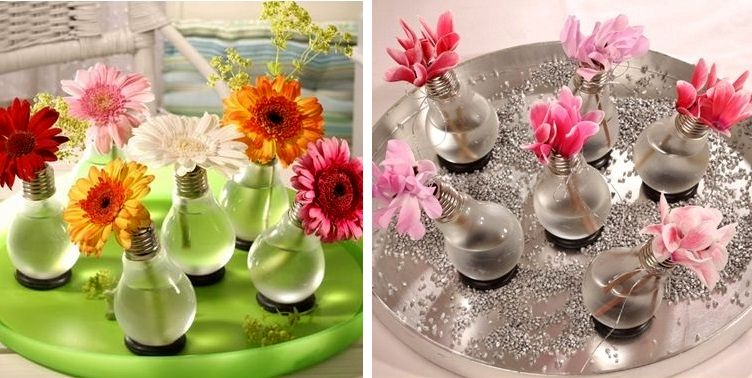 Vases - crafts from a light bulb