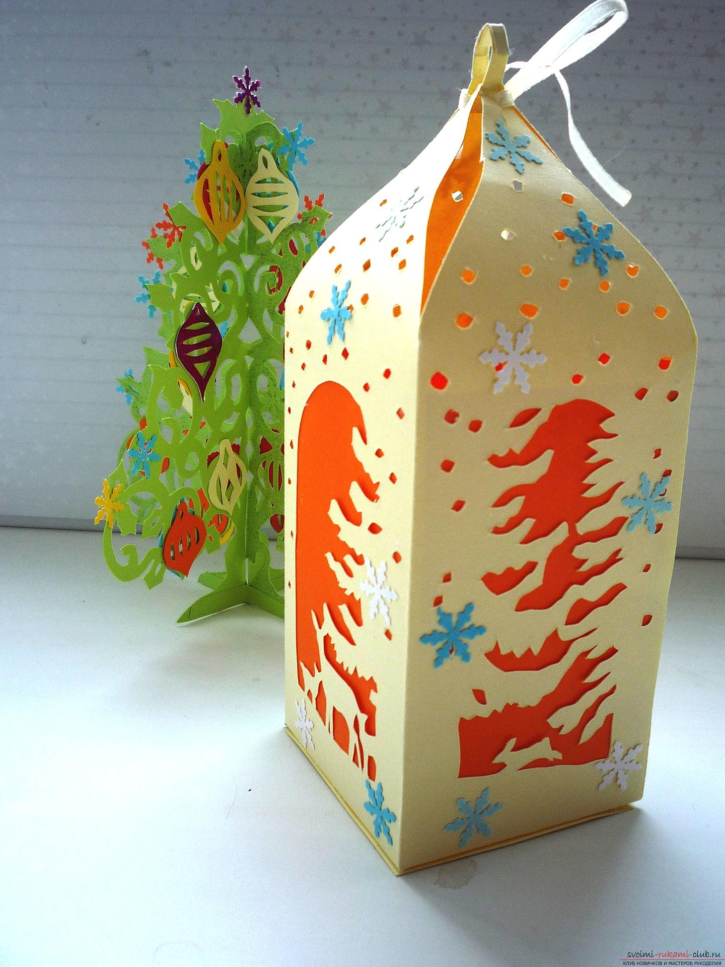 The master class will teach you how to make a New Year's craft - a box for a sweet gift