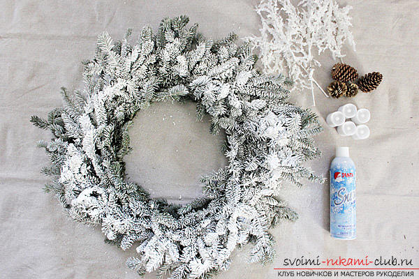 Creating bright and unusual central compositions for the New Year's table, how to make a decorative jar with a candle, creating a central composition with candles and a coniferous wreath .. Photo №1