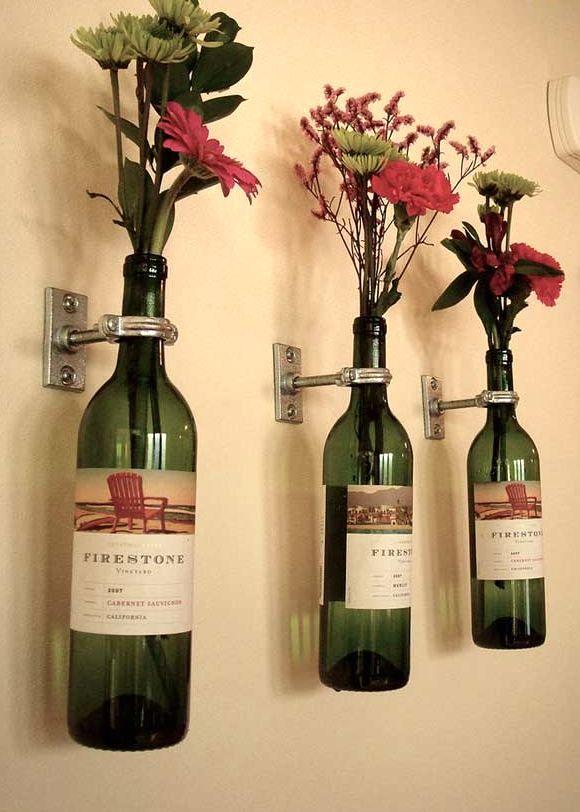 настінні вази з винних пляшок