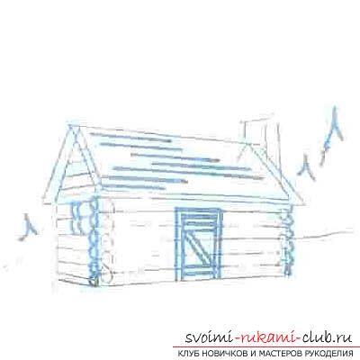 Drawing a wooden house in several stages for beginners. Photo №7
