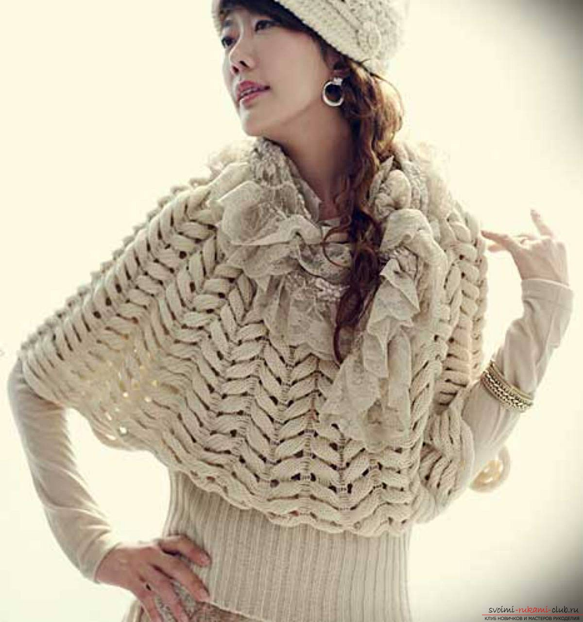 knitted on spokes original female pullover. Photo # 2