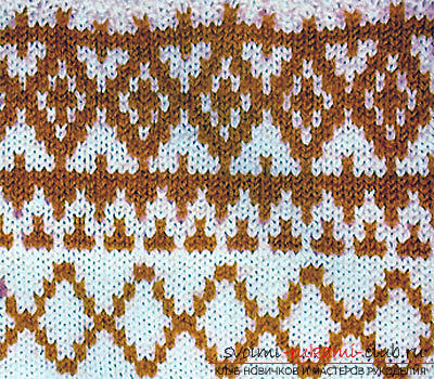 We knit jacquard patterns with knitting needles according to the schemes. Photo №4