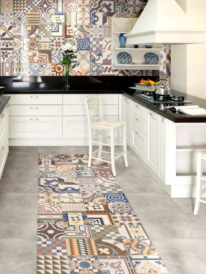 Floor tile in patchwork style