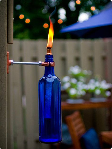 torch made of glass bottle