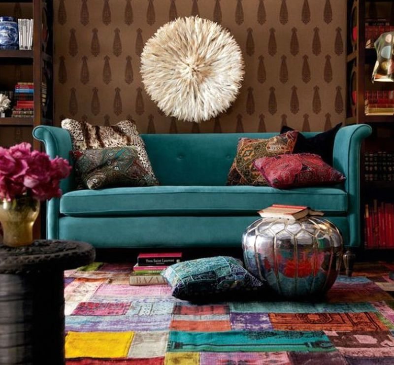 Carpet patchwork in the interior of the living room