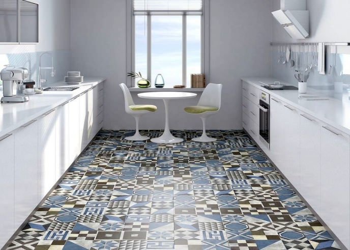 Floor made of patchwork tiles