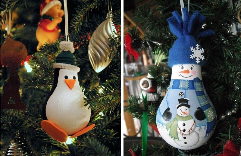 A snowman and a penguin from a light bulb