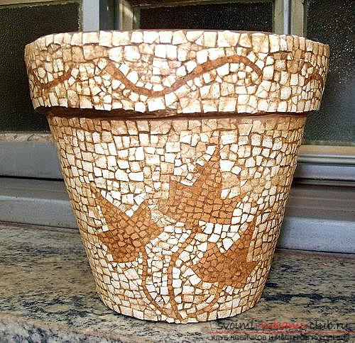 Recommendations for decorating flower pots with their own hands, different styles and techniques of decor .. Photo # 7
