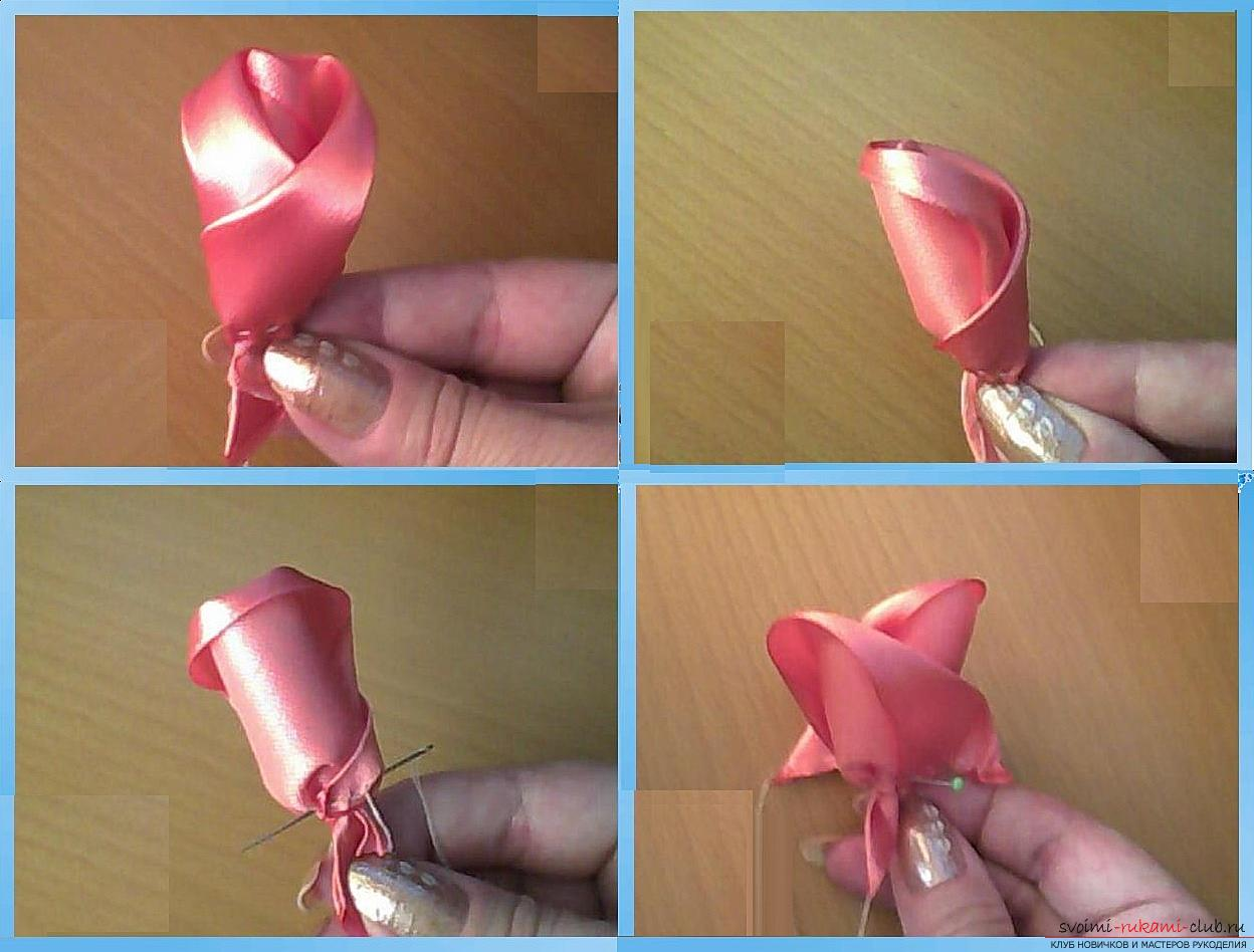 How to make roses from a ribbon with your own hands, step-by-step photos and instructions for creating a flower, seven variants of roses from a ribbon in the form of buds and blossoming flowers. Photo Number 14