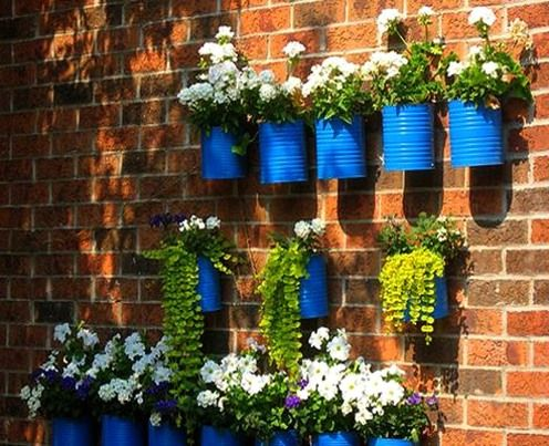 flower pots from cans
