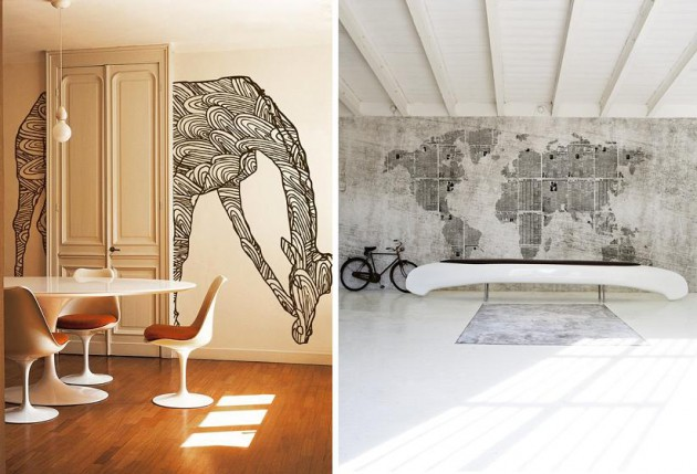 Giraffe en wereldkaart, Wall & Deco vinyl wallpapers