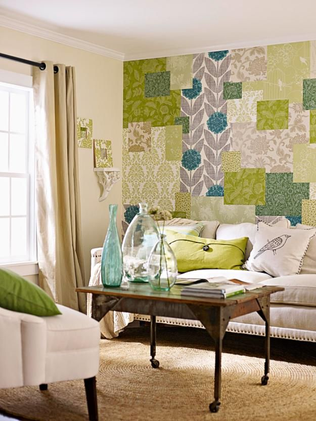 Patchwork wallpaper on the wall in patchwork style
