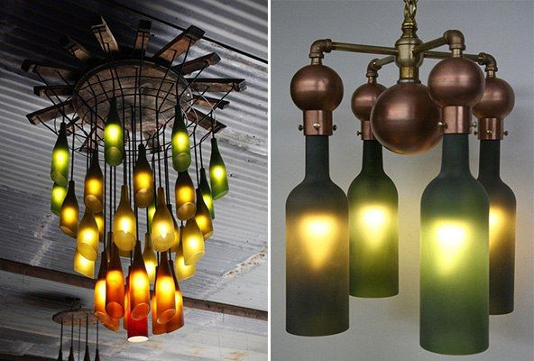 chandeliers from glass bottles