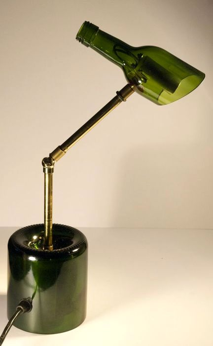 table lamp from glass bottles