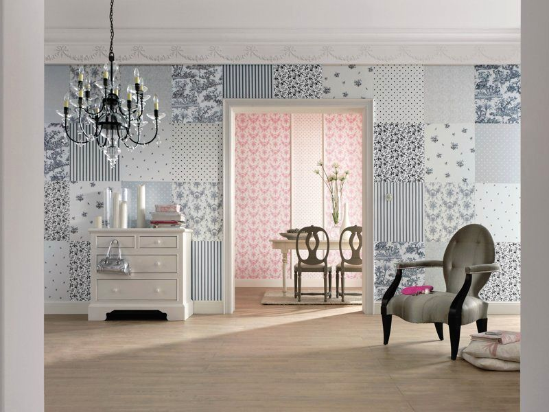 Wall in patchwork style from different wallpapers