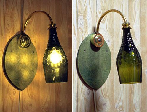 sconces - crafts from glass bottles
