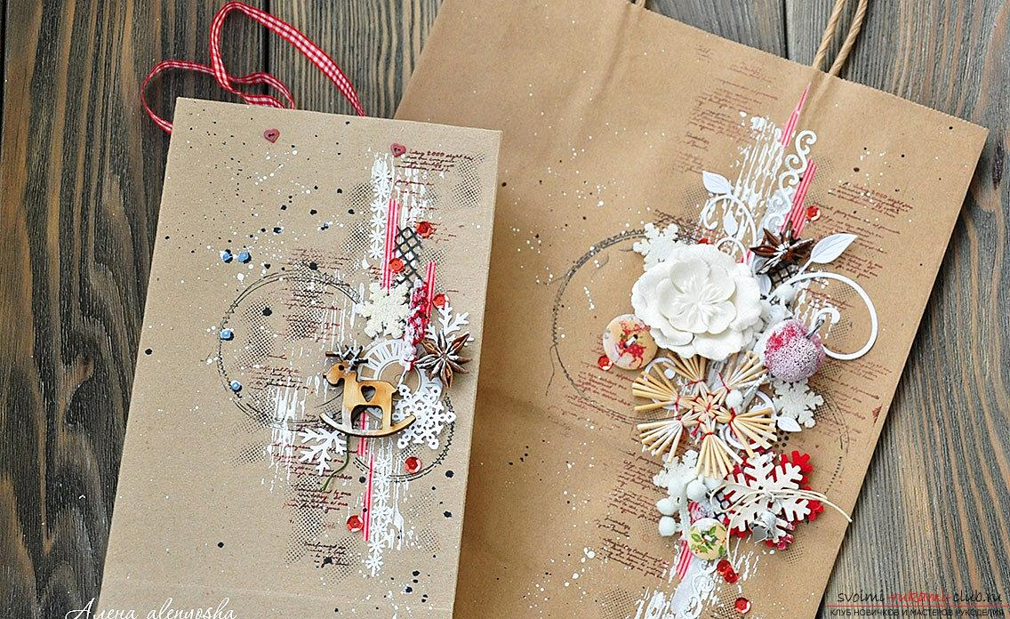 How to make a kraft package for a gift for the new year? Scrapbooking with your own hands. Photo №4