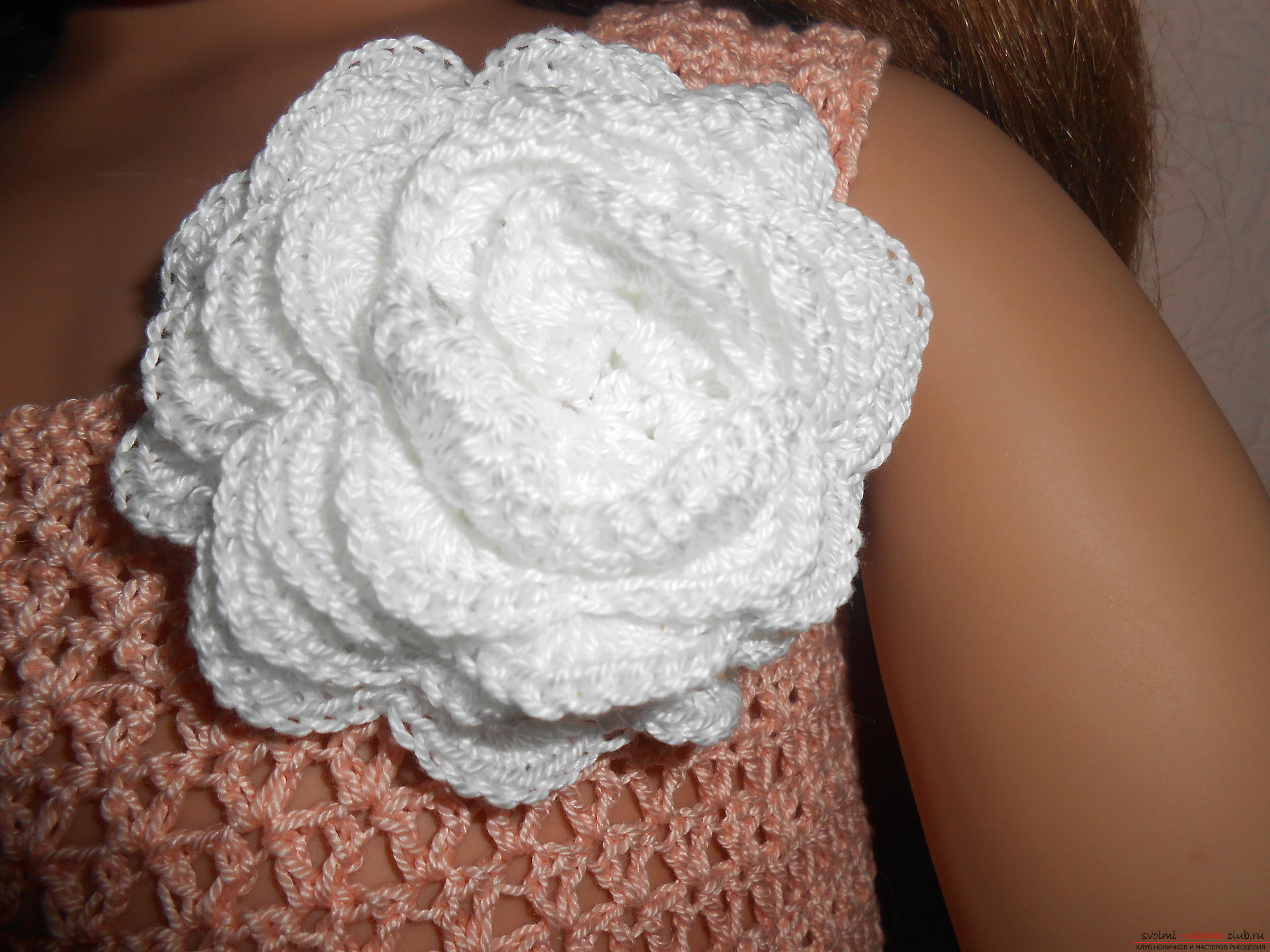 Gentle baby dress crocheted from cotton yarn Coco. Picture №3