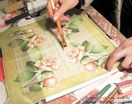 New Year's decoupage of a picture from a napkin for a postcard - Christmas master class. Photo №5