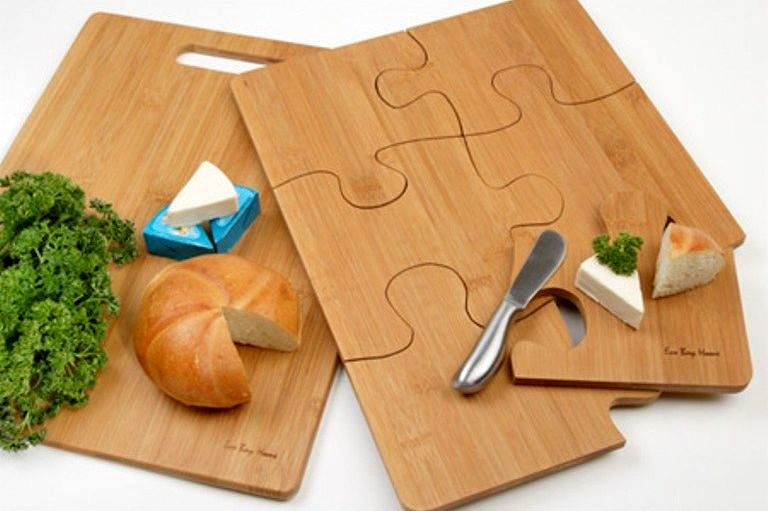 wooden chopping boards in the form of a puzzle