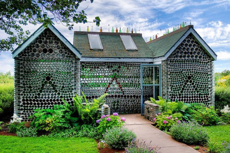 house made of glass bottles