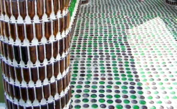 wall and floor of glass bottles