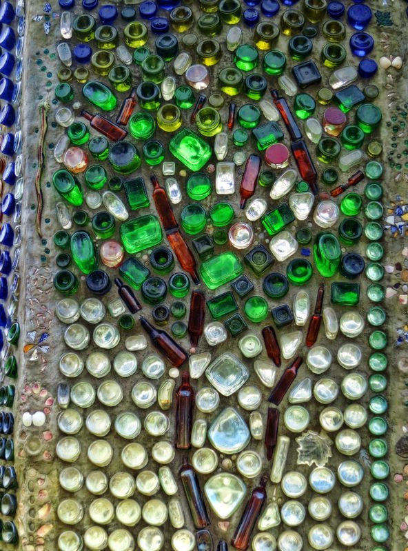 wall of glass bottles