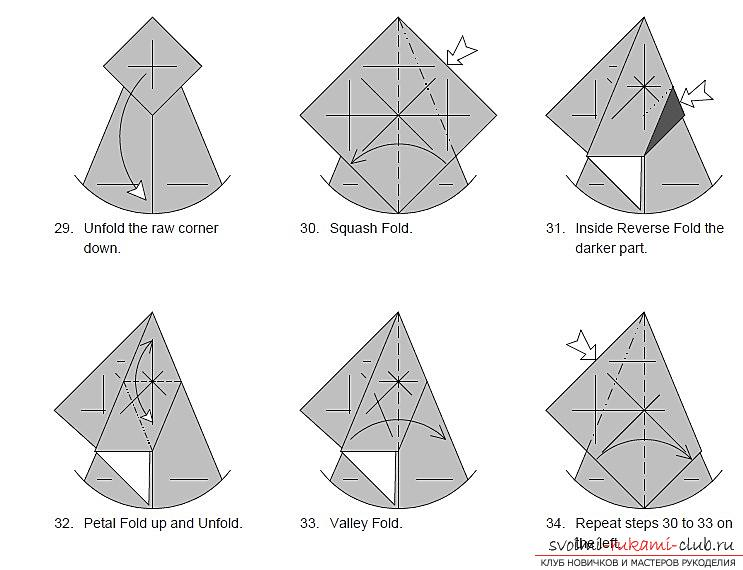 Schemes of addition of figurines of dogs in origami technique. Picture №10