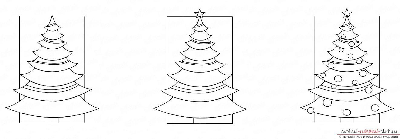 How to draw a Christmas tree with a pencil, a phased photo drawing and a description of the process. Photo №4