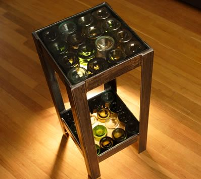 stool decoration with glass bottles