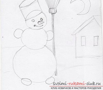 Draw a Snow Maiden, Santa Claus and herringbone with her own hands. Photo №8