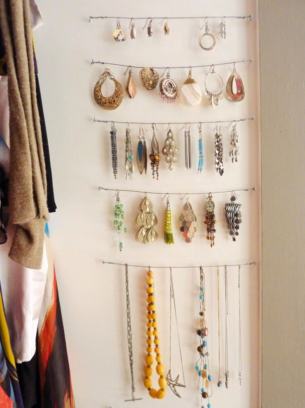 storage of jewelry on the wall