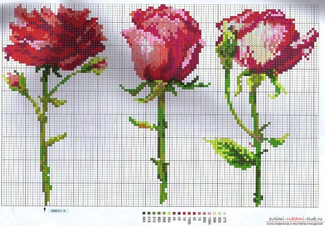 How to embroider a delicate rose with a cross quickly and easily. Photo number 12