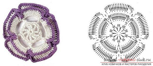 Schemes and description of knitting colors of the original and unusual shape with their own hands crocheted. Picture №10