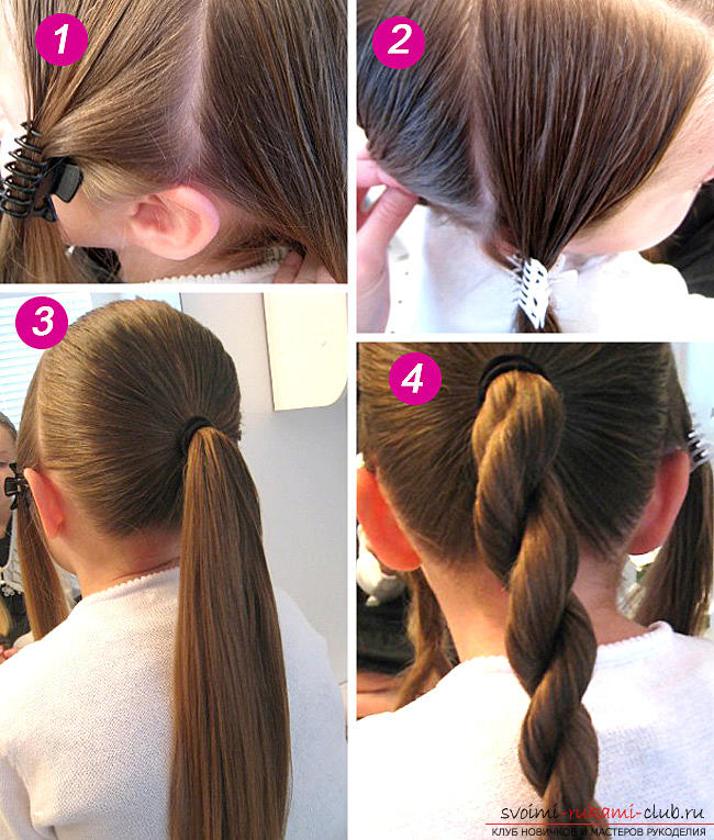 Hairstyles for September 1 for young schoolgirls for hair of different lengths are easy to do on their own. Photo №1