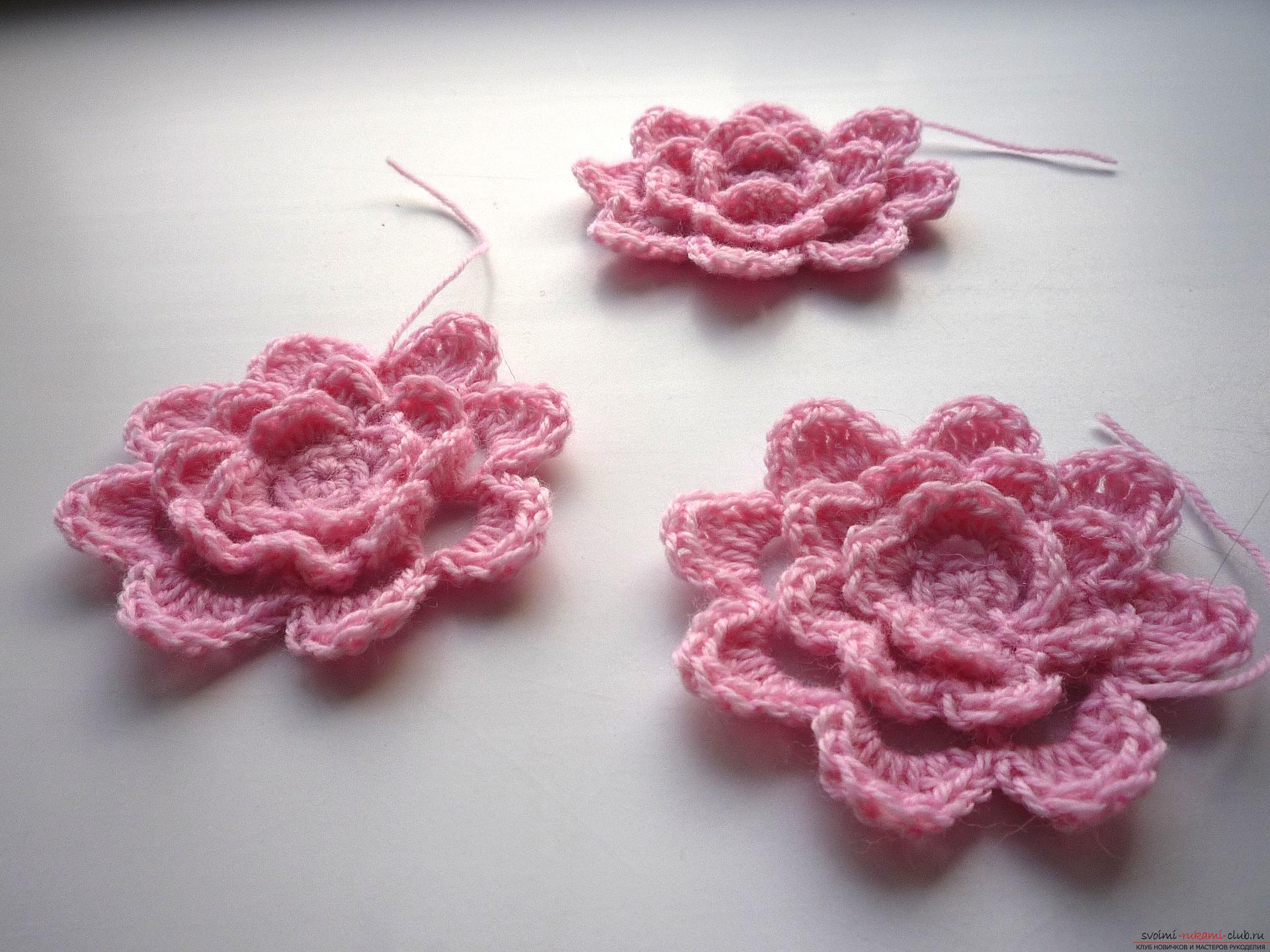 This master class of crocheting contains a crochet flower scheme for a plaid .. Photo №11