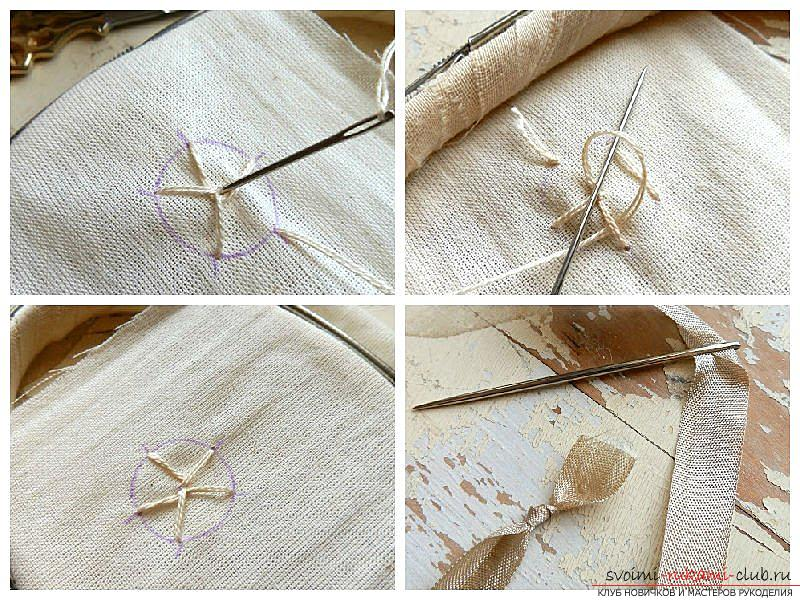How to make roses from a ribbon with your own hands, step-by-step photos and instructions for creating a flower, seven variants of roses from a ribbon in the form of buds and blossoming flowers. Photo №4
