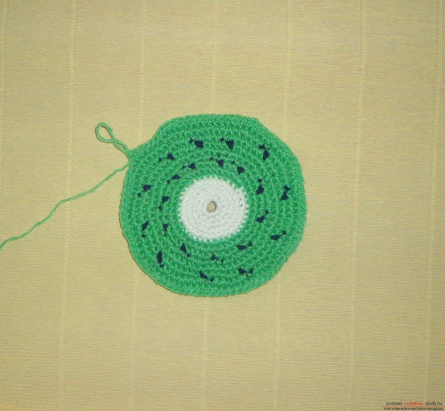 Crochet crochet lesson for hot Kiwi with a description of steps and photos. Photo №5