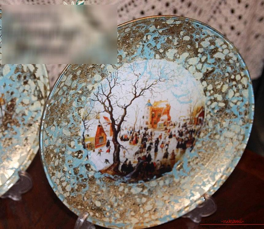 Reverse decoupage for a dish with your own hands - design and master class. Photo №6