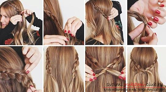 Interesting ideas for creating hairstyles with pigtails on medium hair themselves. Photo №6