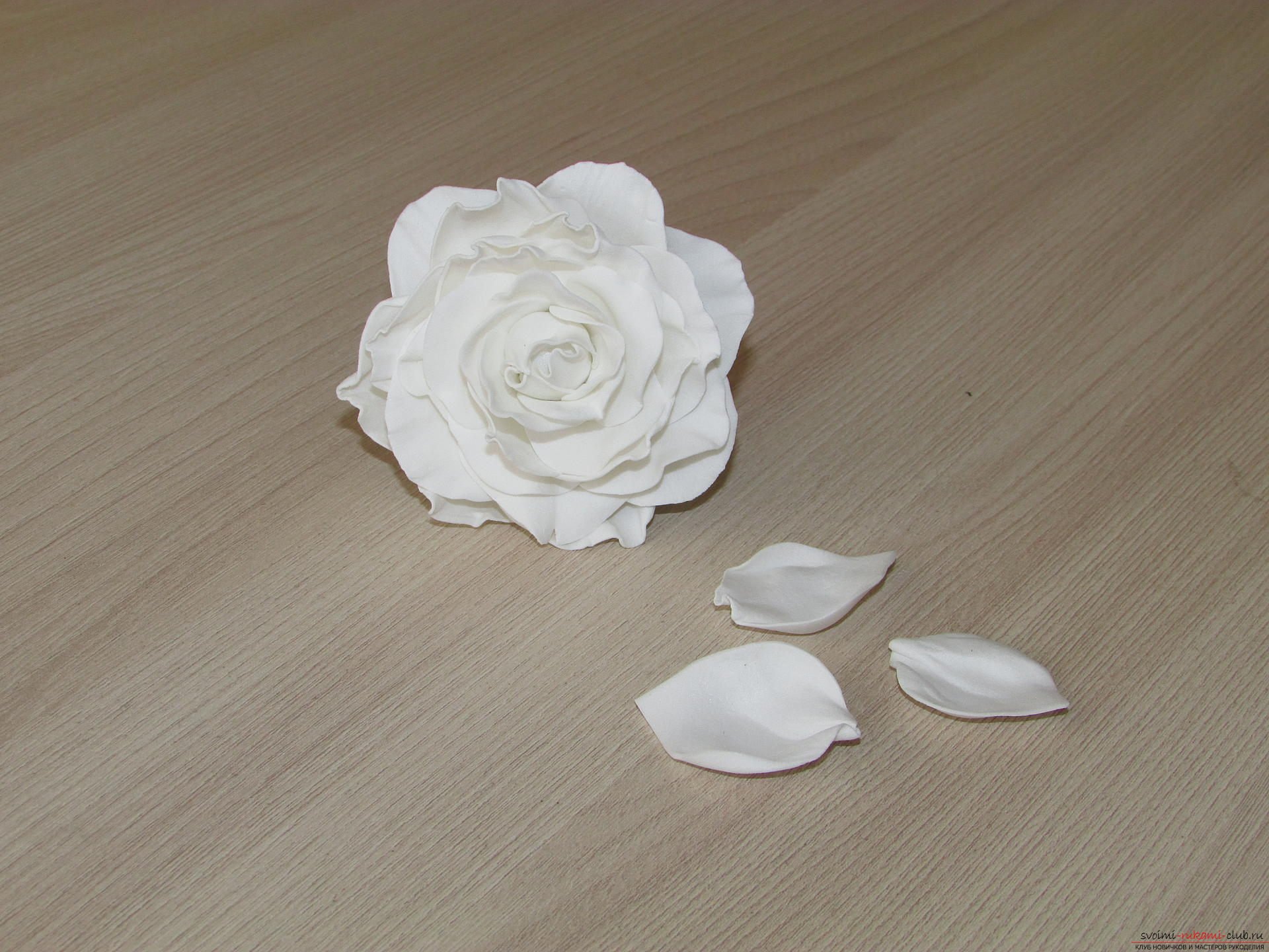 This detailed master-class of flowers from foamiran tells how to make a white rose .. Photo №10