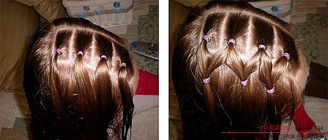 Step-by-step execution of hairstyles for girls of early and adolescence. Photo # 2