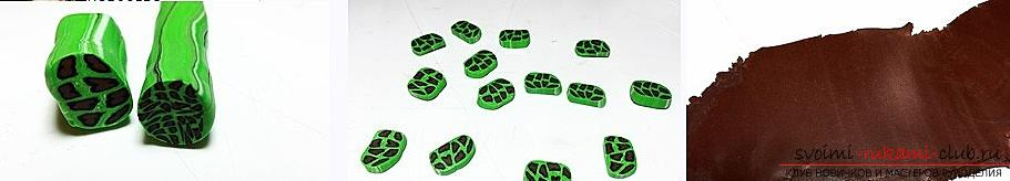 How to make a polymer clay necklace in an ethno style with a bright and original leopard print in green shades. Photo №4