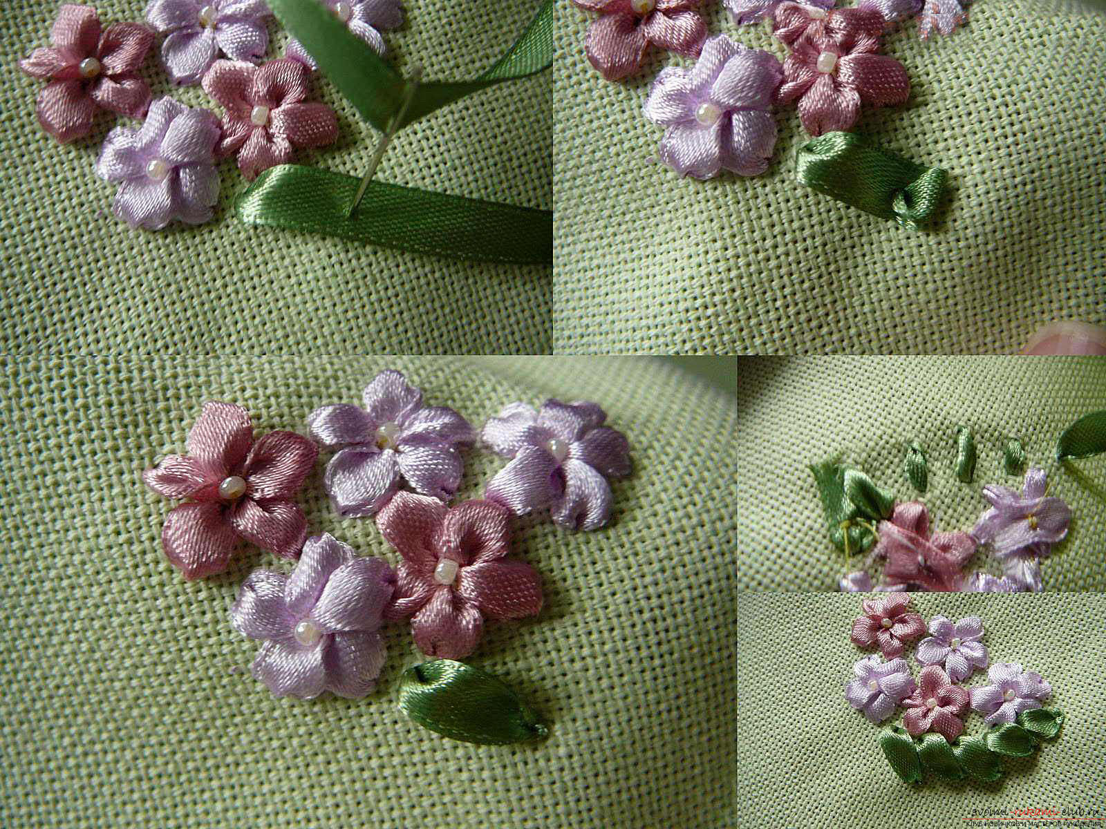 Embroidery with ribbons of white lilies. Photo №4