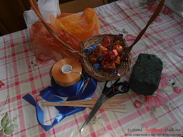 We make a basket with a bouquet of sweets. Photo # 2